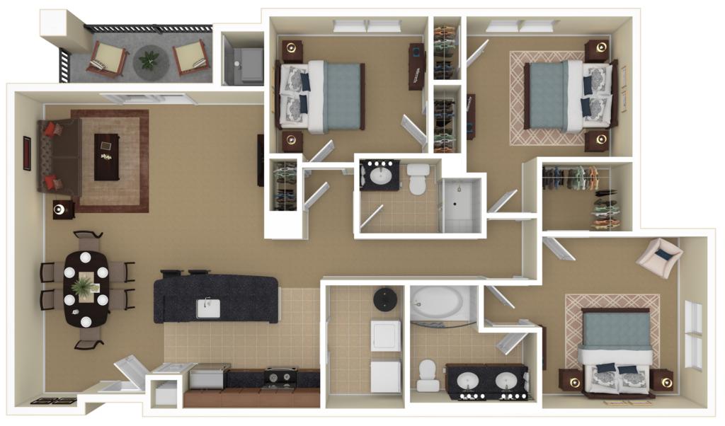 The Carlton at Greenbrier apartments floor plan